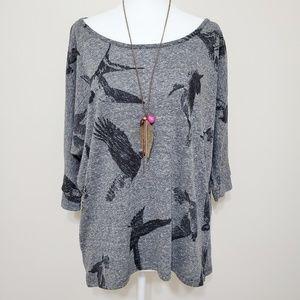 F21 Sparrow Bird HiLo Tunic Top 3/4 Sleeves Size S